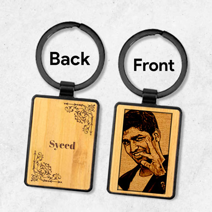 Wooden Keychain Personalised With Photo: Personalised Gifts for Anniversary