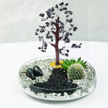 Premium Multicouloured Wish Tree & Plants Glass Platter: