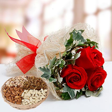Velvety Rose Bouquet and Dry Fruits Combo: Birthday Flowers & Dry Fruits