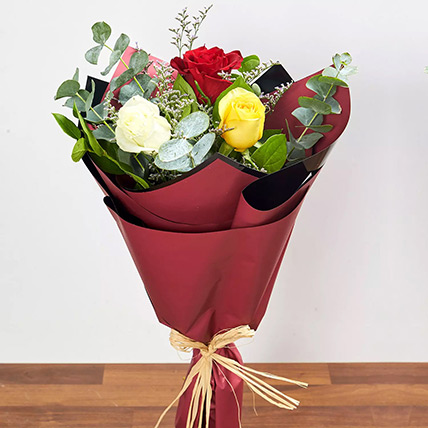 Vibrant Bouquet Of Colored Roses: Congratulations Flowers