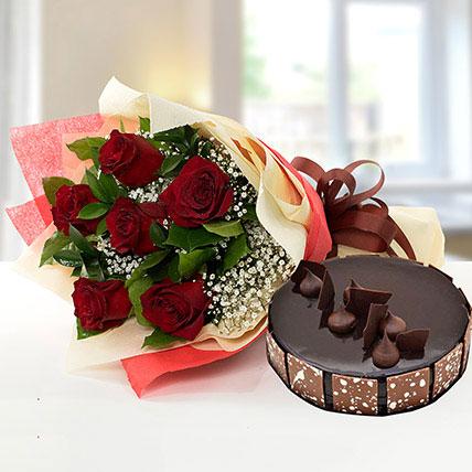Elegant Rose Bouquet With Chocolate Fudge Cake OM: Send Cakes to Oman