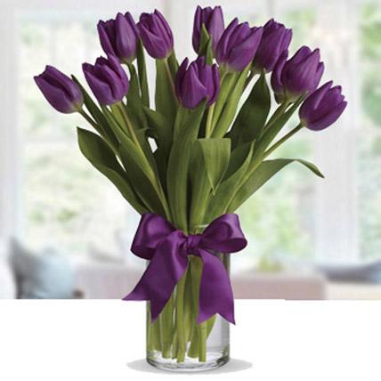 Purple Tulip Arrangement OM: Valentines Day Gifts to Oman