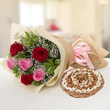 Captivating Roses Bouquet And Dry Fruits Combo: Send Flowers To Pakistan