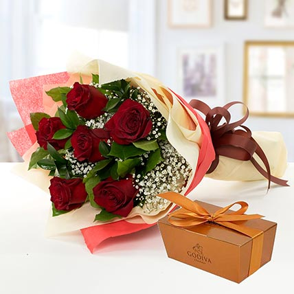 6 Red Roses and Godiva Chocolate Combo PH: Mothers Day Gifts in Philippines