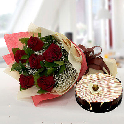 Enchanting Rose Bouquet With Marble Cake QT: Cakes to Doha
