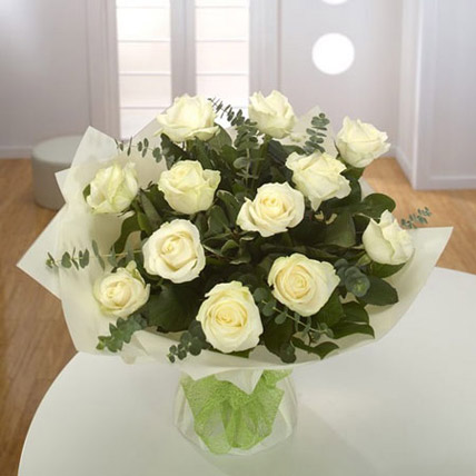 White Roses Bouquet QT: Flowers to Doha