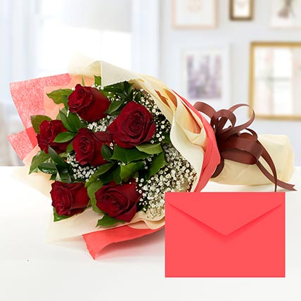 6 Red Roses Bouquet With Greeting Card QT: Gifts to Doha