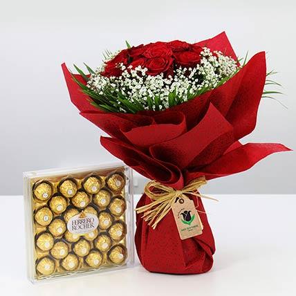 Red Roses Bunch & Ferrero Rocher: Flowers N Chocolates