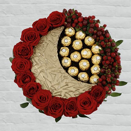 EID Red Roses & Rocher Arrangement: Chocolates