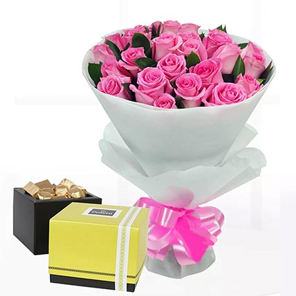 Delicate Pink Roses & Patchi Chocolates: Send Patchi Chocolates to Qatar