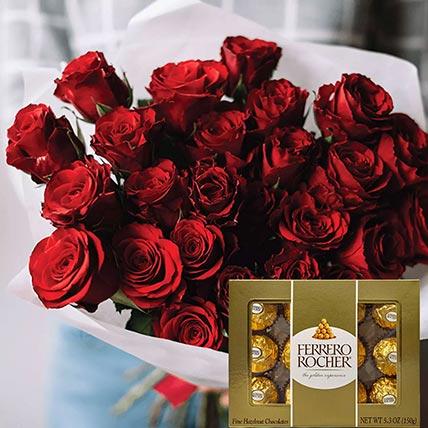 Vivid Red Roses Bunch & Ferrero Rocher: Send Ferrero Rocher Chocolates to Qatar