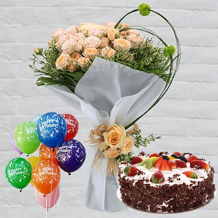 Black Forest & Roses Birthday Hamper: Send Combos To Qatar