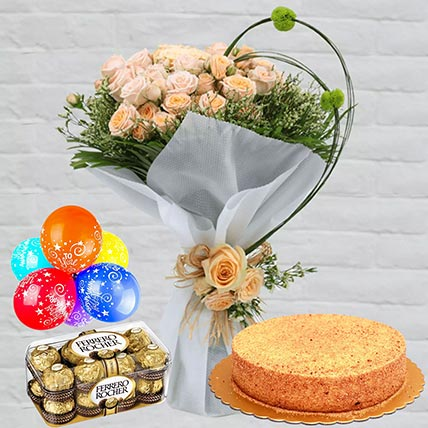 Honey Cake With Peach Roses Combo: Combos