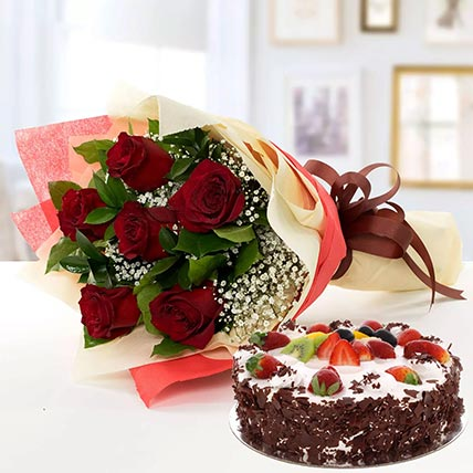 Red Roses & Black Forest Cake- Half Kg: Send Combos To Qatar