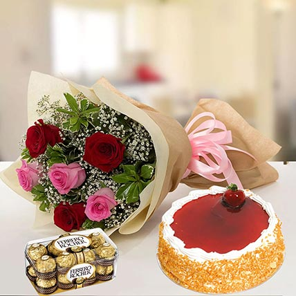 Strawberry Cake with Mixed Roses & Chocolates: Combos