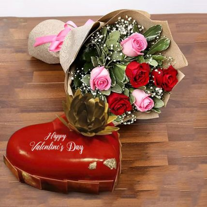 Happy Valentines Day Hamper: Flower and Cakes Delivery in Qatar