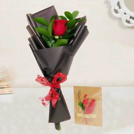 Red Rose Bouquet & Handmade Greeting Card: Gift Delivery in Qatar