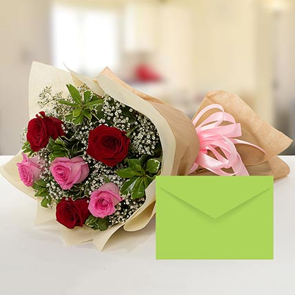Attractive Roses Bouquet With Greeting Card SA: Flower Delivery Saudi Arabia
