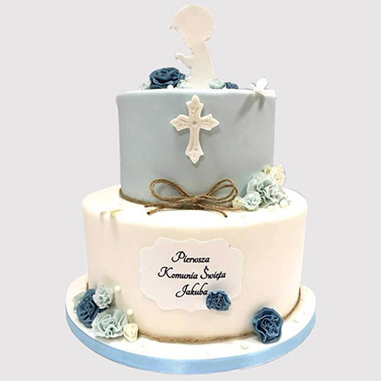 Blue And White Christening Cake: Gifts To Dhahran
