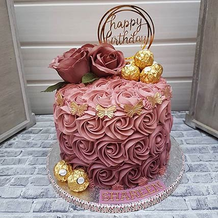 Rosy Birthday Cake: Cake Delivery in Riyadh