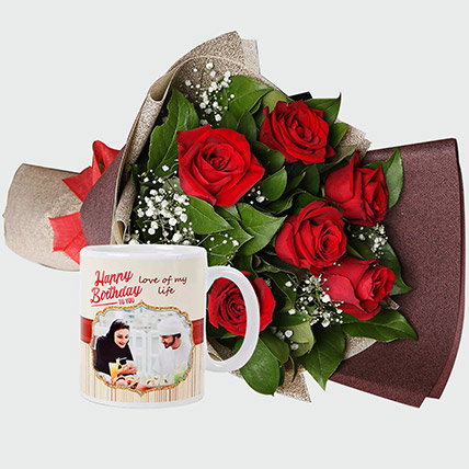 Roses Bouquet And Personalised Mug: Gifts To Al Khobar