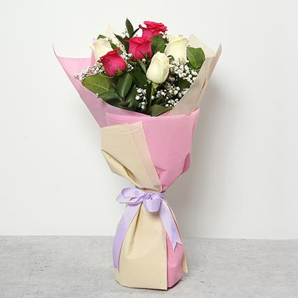 3 Pink And 3 White Roses Bouquet: Flowers To Yanbu
