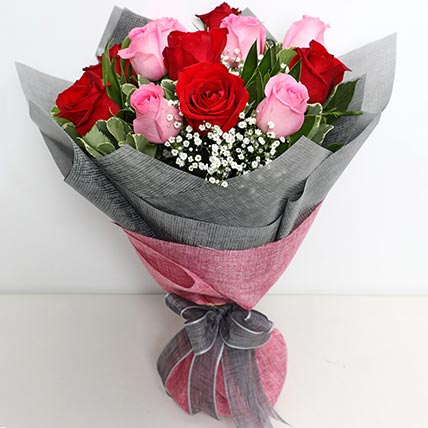 6 Pink And 6 Red Roses Bunch: Gifts To Al Qatif