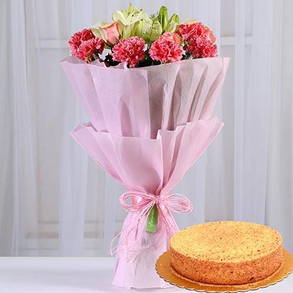 Lovely Flower Posy & Honey Cake: Valentines Day Gifts to Saudi Arabia