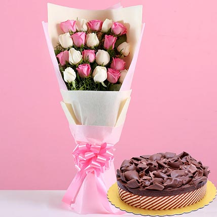 Pink White Roses & Chocolate Mousse Cake: Valentines Day Gifts to Saudi Arabia