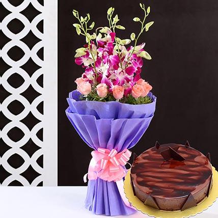 Lovely Flower Bunch & Choco Ganache Cake: Flower Delivery Saudi Arabia