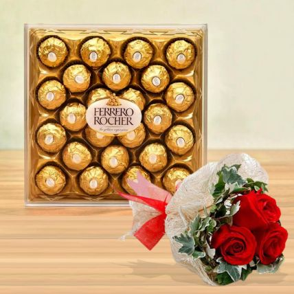 Ferrero Rocher Box & Love Roses Bunch: Valentines Day Gifts to Saudi Arabia