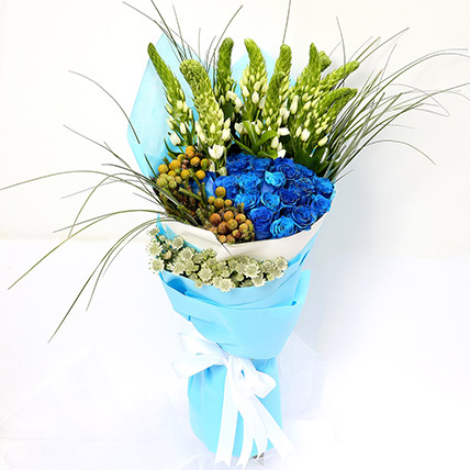 20 Splendid Blue Roses Bouquet SG: Send Gifts to Singapore