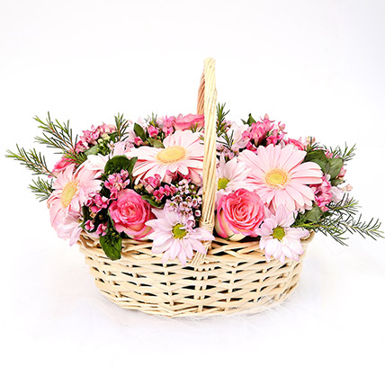 Mixed Basket Of Chrysanthemums and Roses SG: Flower Delivery Singapore
