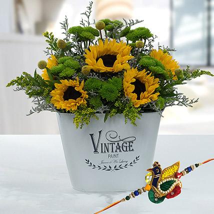 Online Rakhi with Flowers Combo in Dubai UAE