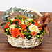 Peach and Orange Rose Basket