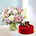 Pink and White Floral Bunch With Red Velvet Cake
