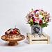 Personalised Birthday Flowers Vase n Cake